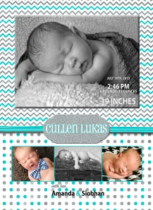 Cullen's birth announcement - took almost 2 months to get them sent out!