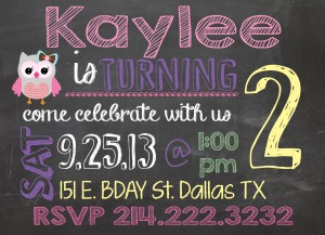Personalized Chalkboard Birthday Invitation