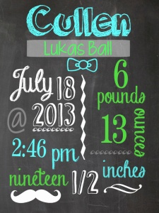 Personalized Birth Stat Chalkboard Sign