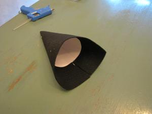 This is what my cone looked like after I glued down the felt and before I glued the end pieces down.